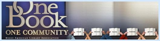 Logo voor 'One Book, One Community' (intussen overgenomen door een groot aantal Amerikaanse public libraries) met logo van de American Library Association