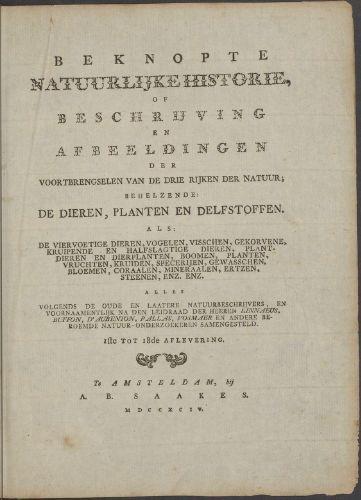 Titelblad van een  anonieme 'Beknopte Natuurlijke Historie' uit 1794. De afgelopen twee eeuwen zijn nog minstens tien gelijknamige boeken gepubliceerd, nochtans tot 2013  geen enkele met de naam Solms als auteur.