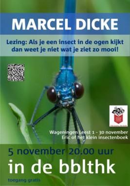 Aankondiging van lezing door professor dr. Marcel Dicke, hoogleraar entomologie aan de landbouw Universiteit Wageningen n.a.v. Godfried Bomans' Erik of het klein insectenboek