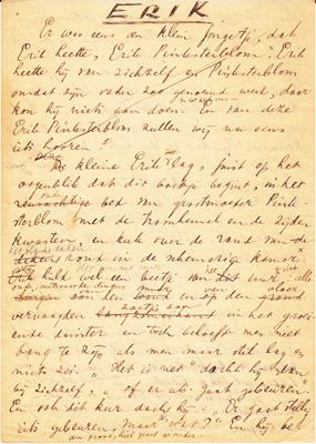 Pagina handschrift van Erik uit Letterkundig Museum