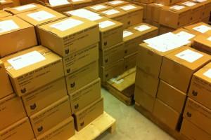 Duizenden leesboeken van Erik klaar voor verzending door vervoersdienst Bisc naar bibliotheken in de provincie Utrecht (foto BISC)