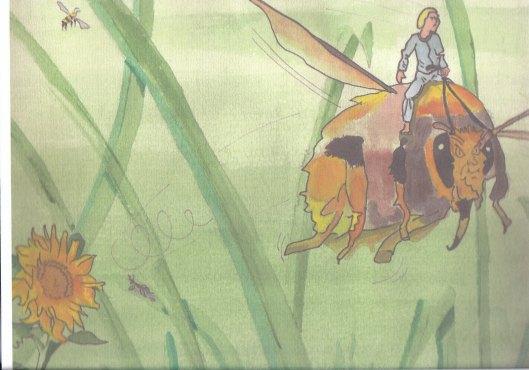 Eén van de illustraties 'Erik op de hommel' gebaseerd op het boek Erik van Godfried Bomans. Vervaardigd door kunstenaar Tom Rademakers en in 2012 geëxposeerd in drie bibliotheken.
