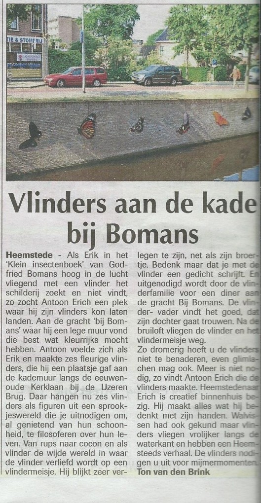 'Vlinders aan de kade Bij Bomans'. Uit: de Heemsteder van 8 juli 2015