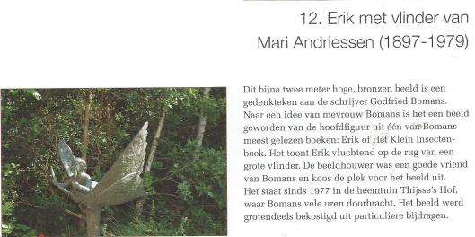 Beeld Erik met vlinder, door Mari Andriessen. Uit: Beelden in Bloemendaal, 2004
