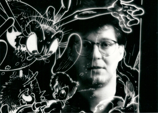 De strip van Erik is vervaardigd door het tekencollectief Mormic, bestaande uit een samenwerking tussen scenarioschrijver Yaack [=  Jacques bakker] en de tekenaars Dirk Michiels en Luc Morjaeu (1986-1990). Op deze foto met enkle tekeningen: Luc Morjaeu.