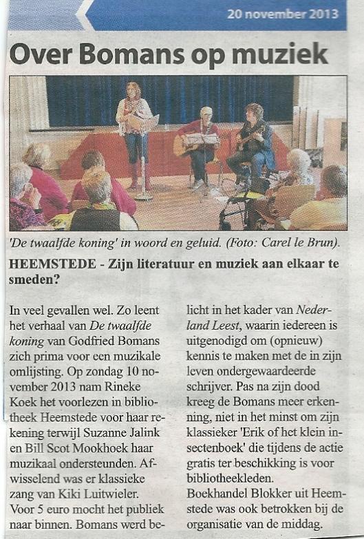 Bericht uit de Heemsteedse Courant van 20 november over Bomans op muziek door Rineke Koek, Suzanne Jalink, Bill Scot Mookhoek en Kiki Luitwieler, in de bibliotheek Heemstede