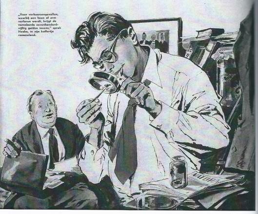Godfried Bomans bestudeert een spin. Cartoon van Frans Lammers. Uit: Katholieke Illustratie van 24 maart 1956. De andere persoon verbeeldt zijn vriend Anton van Duinkerken