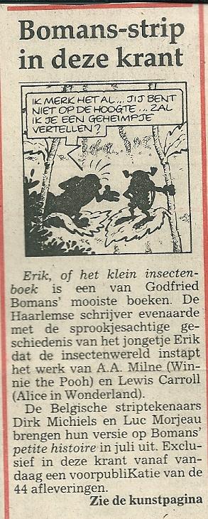 Aankondiging van Bomans-strip door de Belgische striptekenaars Dirk Michiels en Luc Morjeau in Haarlems Dagblad van 21 mei 1990.
