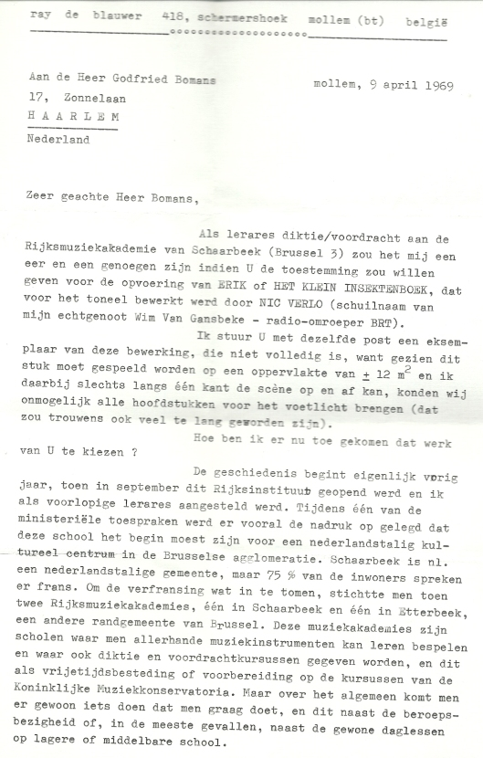 Begleidende brief van Ray de Blauwer aan Godfried Bomans (1)