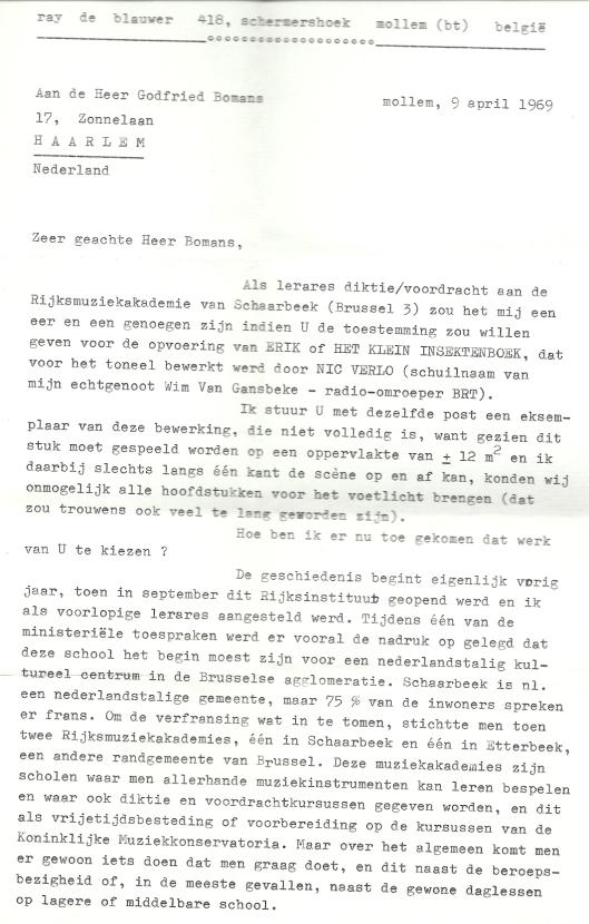 Begleidende brief van Ray  de Blauwer aan Godfried Bomans (1)