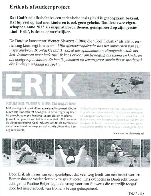 Erik als afstudeerproject. Uit: Godfried; periodiek van het Godfried Bomans Genootschap. Jrg. 35, nummer september 2013