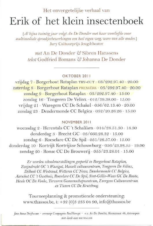 Flyer met informatie van vertelling Erik door An de Donder