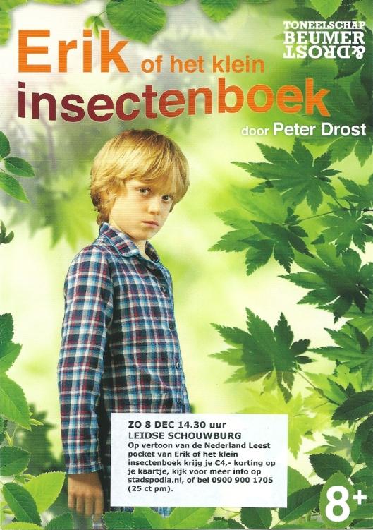 Flyer van Peter Drost speelt: Erik of het klein insectenboek