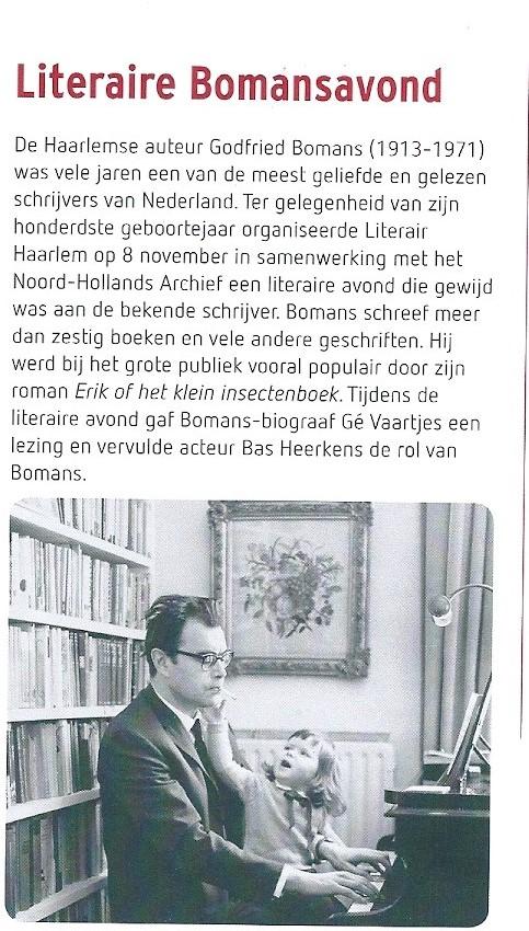 Literaire Bomansavond in Haarlem. Uit: NHA Uitgelicht, december 2013, nummer 18.
