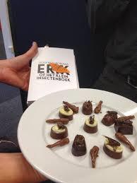 Het boek Erik met chocolade versnaperingen in de vorm van insecten, uitgedeeld in de Vlashof Tilburg (foto Petry Hboom)