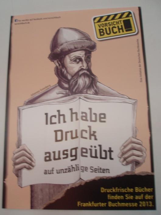 Eén van de talrijke reclamekaarten gedistribueerd op de Frankfurter Bruchmesse 2013 (Gutenberg)