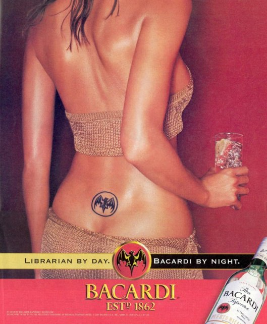 Advertisement: Librarian by day, Bacardi by night