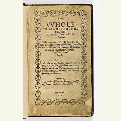 Titelblad van 'The whole ook of Psalms', een geveild drukwerk dat meer dan 10 miljoen euro opbracht