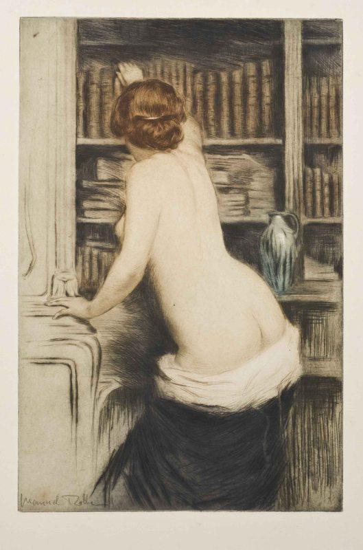 De bibliothecaresse. Gravure uit 1906 van de Franse kunstenaar Manuel Robbe (1872-1936)