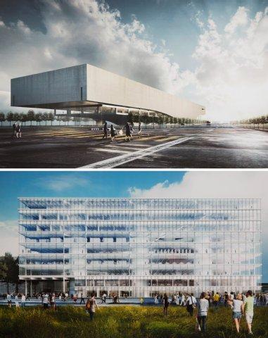 Boven: het prijsvraagontwerp voor de Zentralbibliothek Berlijn van de architecten Kohlmeyer en Oberst uit Stuttgart. Onder het ontwerp van bureau Oberholzer en Miebach uit Zürich.