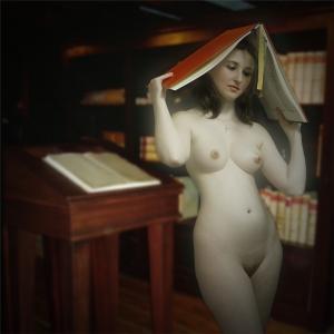 Die Bibliothekarin. Naar Lucas Cranach (door Raymond P.)