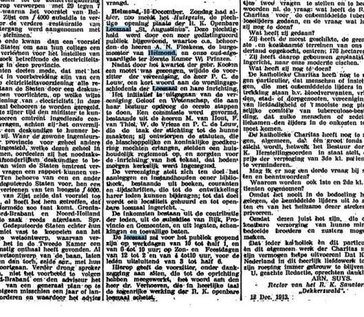 Bericht over de opening van de r.k. openbare leeszaal en bibliotheek in Helmond, uit: Het Centrum van 16-12-1913 (Kon. Bibliotheek)