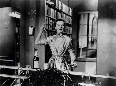 Katherine Hepburn as librarian in ' Desk Set' .