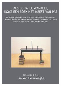 Vooromslag van het nieuwste boek van de Vlaamse bibliothecaris Jan van Herreweghe uit Harelbeke