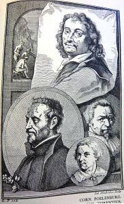Prent uit A.Houbraken (1718) met afbeeldingen van Cornelis Poelenburgh, Daniel Seghers, Johannes Torrentius en Pieter de Valck