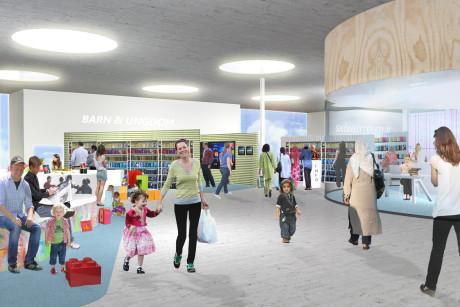 De bestaande Kista-bibliotheek die zal verhuizen naar het vernieuwde winkelcentrum in Stockholm (Madeleine Sjöstedt)