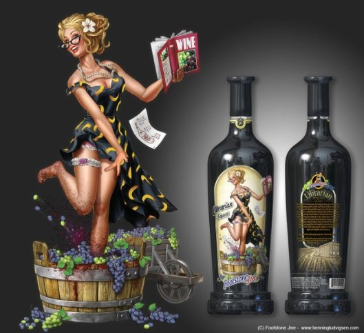 Librarian wine label design made for Californian winery, Footstone Jive