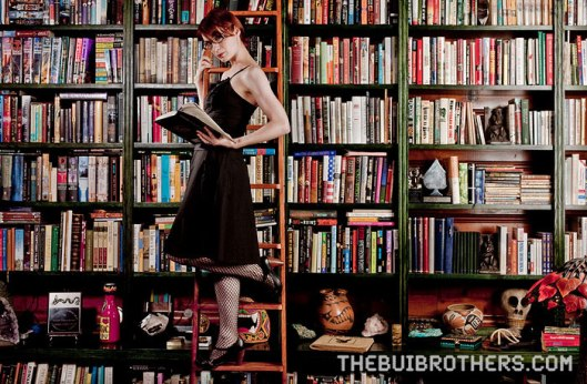 Felicia Day as a lipstick librarian