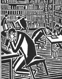 Lezen in de bieb; houtgravure van Frans Masereel, 1925