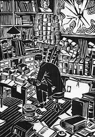 Frans Masereel: schrijver aan het werk in zijn studeerkamer