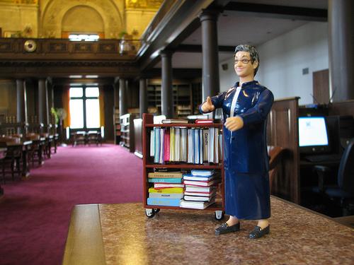 Amerika's bekendste 'Action Librarian' Nancy Pearl verbeeld