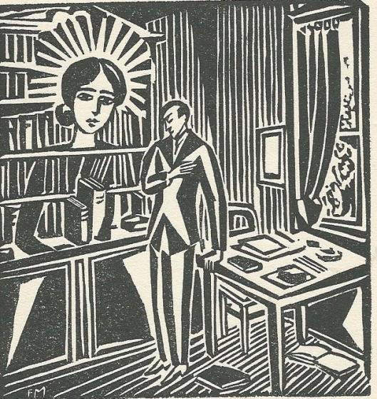 Houtgravure door Frans Masereel (1889-1972), getiteld: 'de verschijning van een bibliothecaresse' met heiligenkrans tegen de achtergrond van een boekenkast (1920).