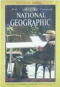 Louis Putman als lezer op de voorzijde van 'National Geographic' , volume 86, 17 September 2009.