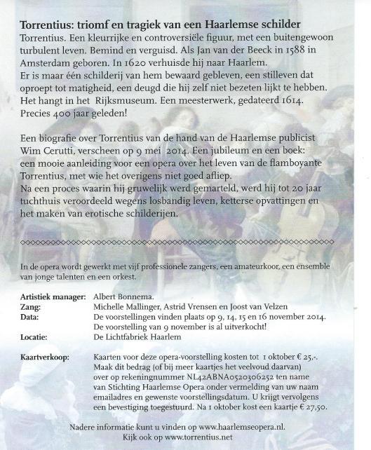 Informatie over Haarlemse opera Torrentius, in november 2014 uitgevoerd in de Lichtfabriek