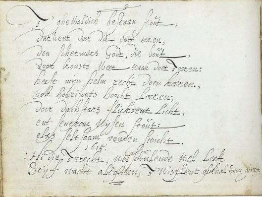 Gedicht van Torrentius in het vriendenboek van Gerard Thibault uit 1615, aanwezig in de Koninklijke Bibliotheek