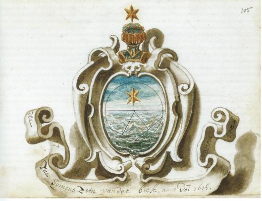 Getekend wapen van Torrentius in vriendeboek Gerard Thibault