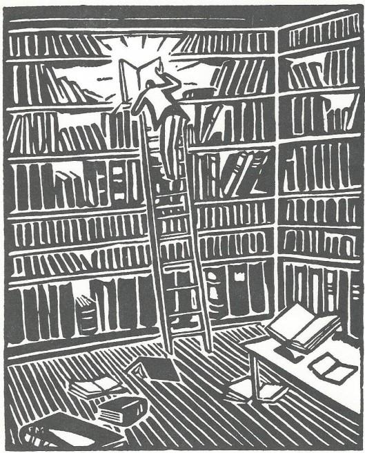 'De bibliothecaris', houtgravure door Frans Masereel