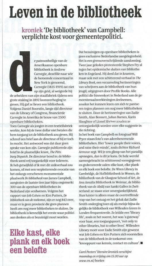 Carel Peeters: Leven in de bibliotheek. Uit: Vrij Nederland, 1 februari 2014, pagina 67.