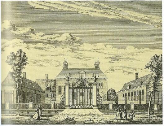 Gravure van Huis Ter Specke in Lisse uit 1732. Buitenverblijf van de familie Van der Laen. Hier bevond zich omstreeks 1629 een aantal schilderijen van Torrentius. (Cerutti, pagina's 64-65).