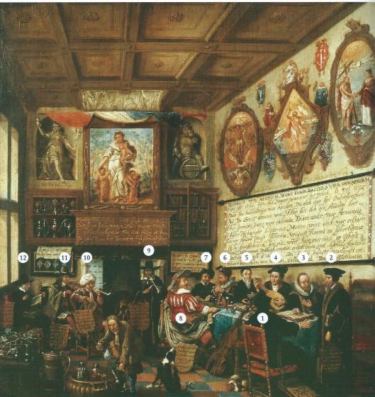 Anonieme schildering uit 1659 van een Redelijkerskamer. Rond de tafel zitten: 1. Katholiek priester, 2 Calvijn, 3 Arminius, 4 Luther, 5 Socinus (?) of Menno Simonsz (?), 6 Hus (?) of Socinus (?), 7 Menno Simonsz (?) of onbekend, 8 Libertijn (Torrentius?), 9 Jood, 10 Moslim, 11 Collediant, 12 Sofist (?). Uitleg Wim Cerutti, pagina 228.