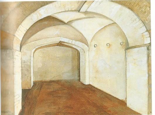 De meest westelijke cel in de kelder van Zijlstraatvleugel. Hier zat Torrentius van 31 augustus 1627 tot 25 januari 1628 opgesloten. Tekening uit 1899. Biografie van Wim Cerutti, pagina 95).