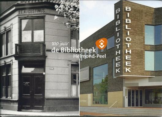 Links de huisvesting in 1913 en rechts 2013 van de openbare bibliotheek in Helmond
