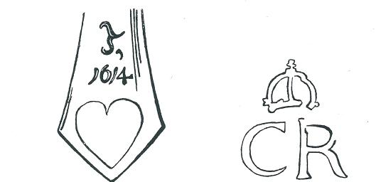 Illustraties uit het boek van Rehorst. Links: monogram (T) van Torrentius en jaartal (1614) voorkomend op de breidel. Rechts: ingebrand merkteken van koning Karel I op de achterzijde van het paneel.