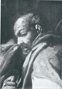 Links van de 'overspelige vrouw' als bijbelse voorstelling zou schout en aanklager (officier van justitie) Cornelis van Teylingen zijn afgebeeld.