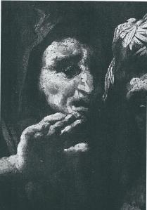 Rechts van 'de overspelige vrouw' predikant mogelijk Henricus Geesteranus, een Haarlemse tegenstander van Torrentius