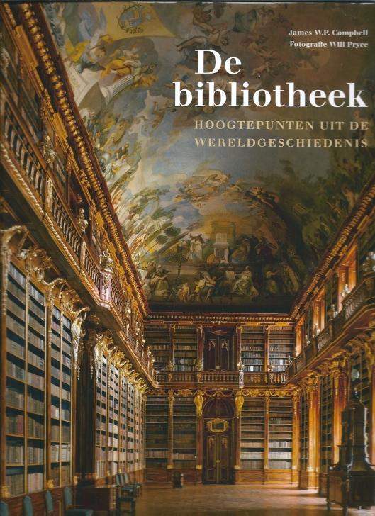 Voorzijde van prachtboek 'De bibliotheek; hoogtepunten uit de wereldgeschiedenis' , uitgeverij Thoth, met een afbeelding van de filosofische zaal in de Strahov-bibliotheek in Praag